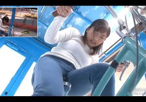 アクメ自転車でジーパンがビショ濡れになっちゃうママチャリ人妻を後ろからヤるミラー号ナンパ!
